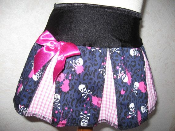 New Baby Girls Black Red White Spots Pirates Skulls Tartan Satin Skirt gothic