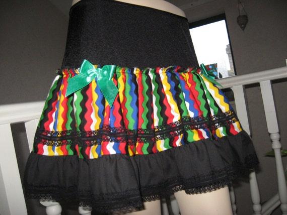 NEW Adult Black Rainbow Unicorn striped Lace Skirt Festival Party Lolita Cosplay