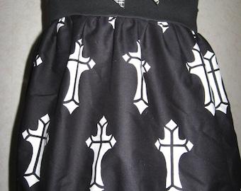NEW Goth Baby Girls Black,white pink,gothic cros,check Top/Dress,gift Rock,Punk sequoia