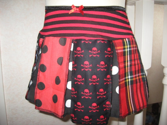 NEW Black White red skulls tartan spotted Skirt-All sizes Gothic Party Festival
