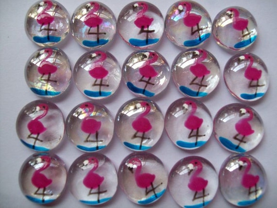 Pink Flamingos hand painted glass gems party favors  pink flamingo tropical beach mini glass art