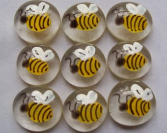 Hand painted glass gems party favors   BUMBLE BEES  BEE