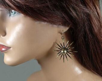 Brass oxidized dangle earrings, unique, gift
