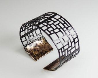 Brass oxidized cuff bracelet, adjustable, reversable
