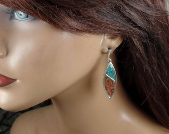 Sterling silver earrings with turquoise and goldstone crushed stone inlay