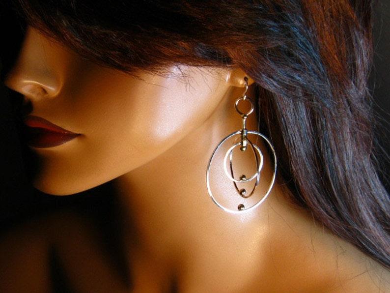 kinetic dangle Sterling silver twirling hoop earrings gift