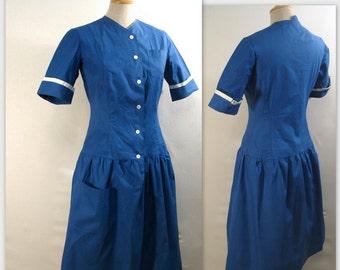 Robe vintage des années 40 hôpital ménage uniforme S