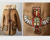 Vintage 70s Blanket Coat Parka Embroidered Totem Pole