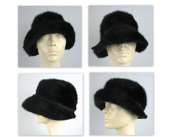 Vintage 60s Kangol Cloche Hat in a soft black angora ecfb02158799