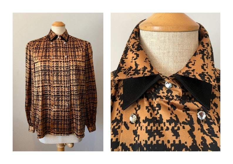 Vintage 80s Liquid Silk Blouse M Abstract Houndstooth with image 0