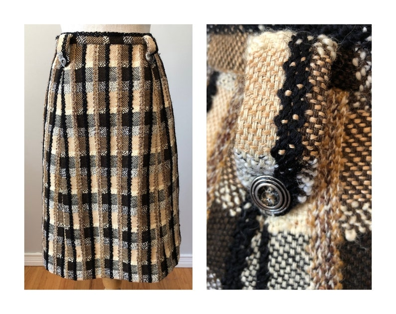 Vintage 70s Novelty Tweed Skirt  S Top Drawer Fabric by Jaeger image 0