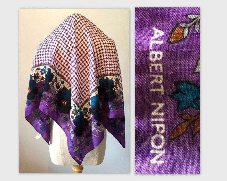 Vintage Extra Large Wool Scarf by Albert Nipon in a Purple image 0