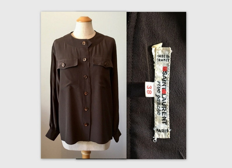 5afc26ec3a5 Vintage 80s YSL Silk Blouse M 38 Chocolate Brown Yves Saint | Etsy