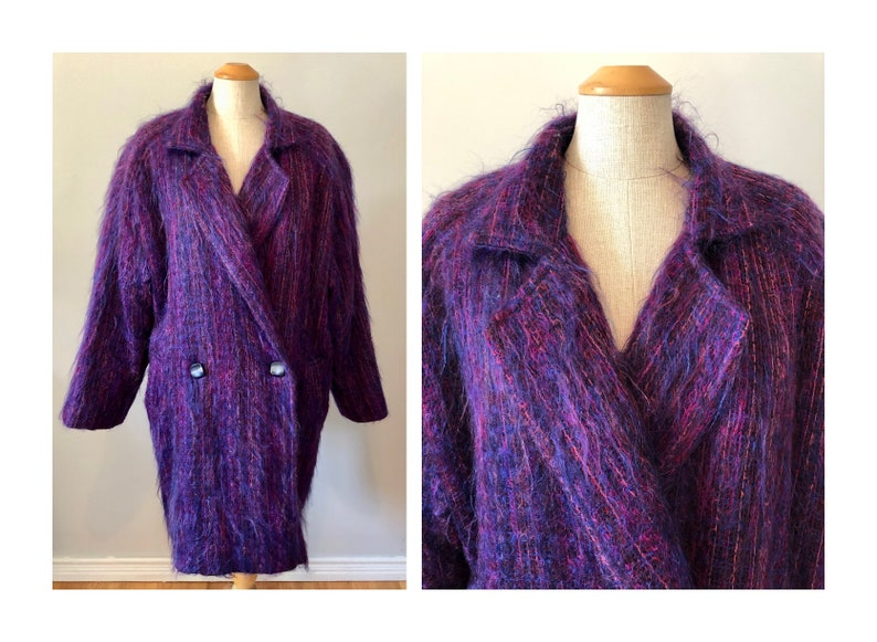 Vintage 80s Purple Mohair Coat XL Soufflaire Mohair Worsted image 0