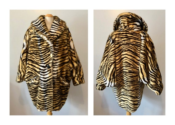 Vintage 80s Faux Fur Cocoon Coat M L Fake Tiger Fu