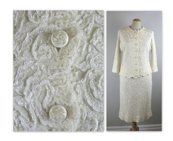 Vintage 60s Soutache Knit Dress Suit with rosebud buttons