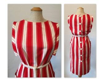 Vintage 70s Shift Dress S Lipstick Red n White Stripes, Back Buttons, Belted