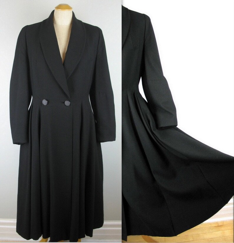 Vintage 50s Fit and Flare Black Coat S M New Look Princess image 0