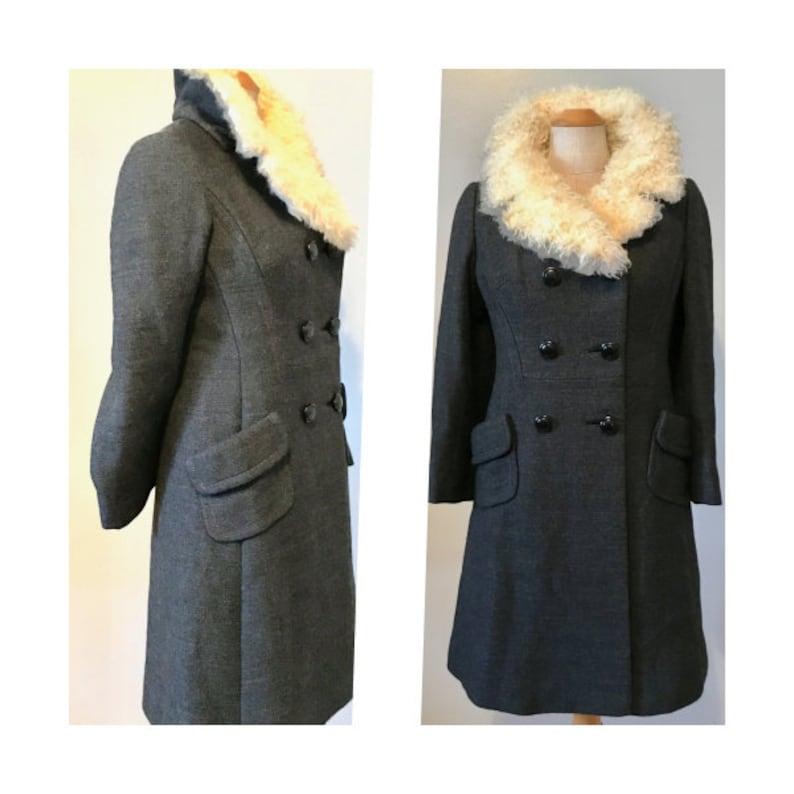 Vintage 60s Princess Coat S Charcoal Grey Wool with Angora image 0