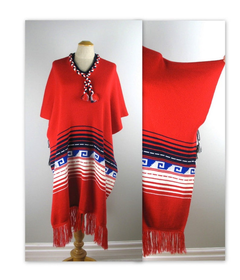 Vintage 70s Knit Poncho with a South American Indian design OS image 0