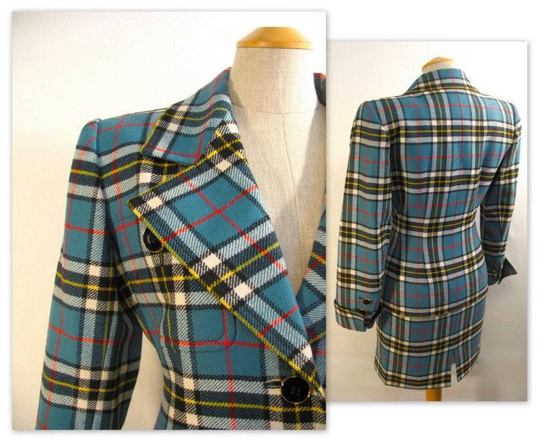 Vintage 80s Yves Saint Laurent Plaid Jacket and Skirt Suit XS image 0
