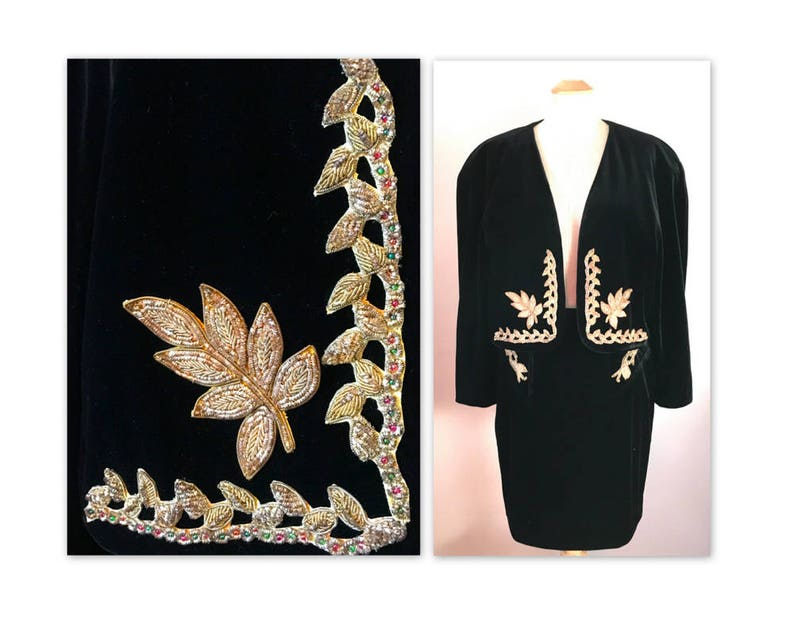 Vintage 80s Velvet Suit Skirt and Jacket M Black with Beaded image 0