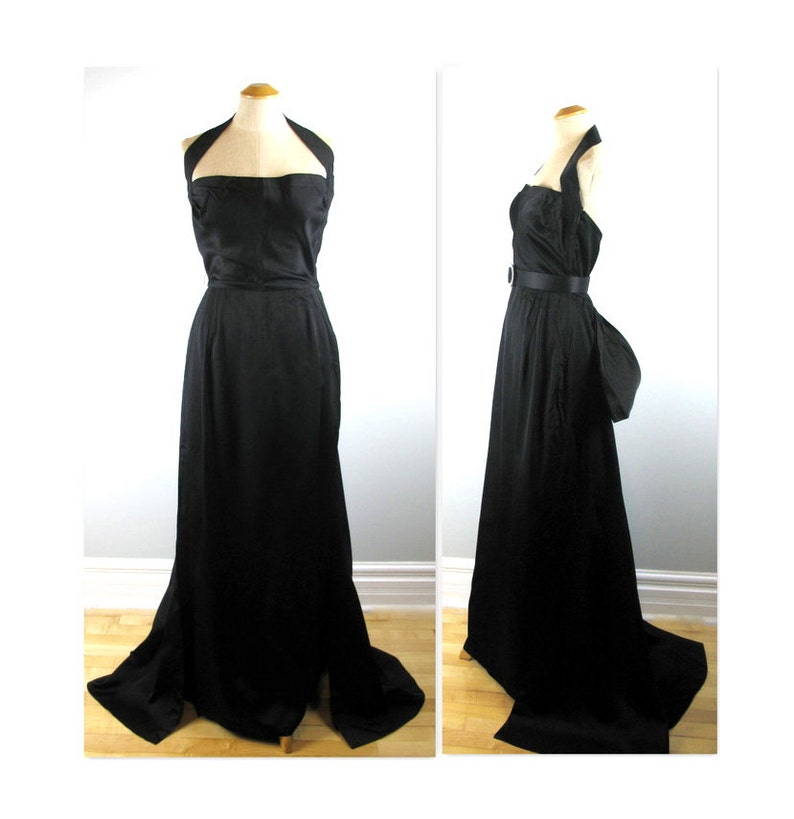 Vintage 40s Halter Evening Gown with Train S in a Lustrous image 0