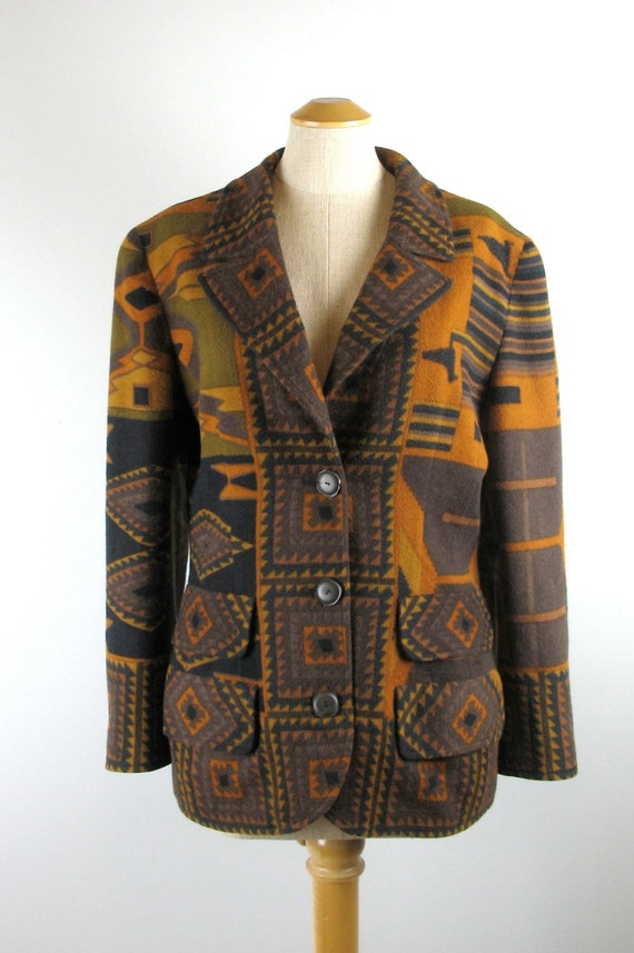 Vintage 80s Valentino Jacket Blazer in a Southwester Pattern M  a6d960d2a