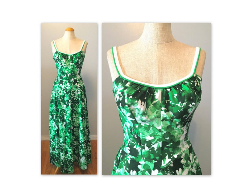Vintage 60s Deweese Abstract Floral Dress XS Long Backless Sun image 0