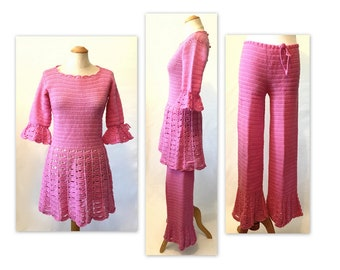 Vintage Go-go Dress and Pants S XS Pink Mod Crochet Knit Outfit