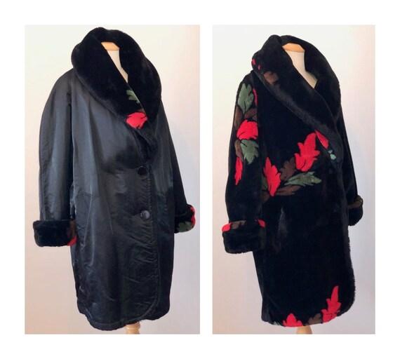 Vintage 80s Faux Fur Reversible Coat M L Oversized