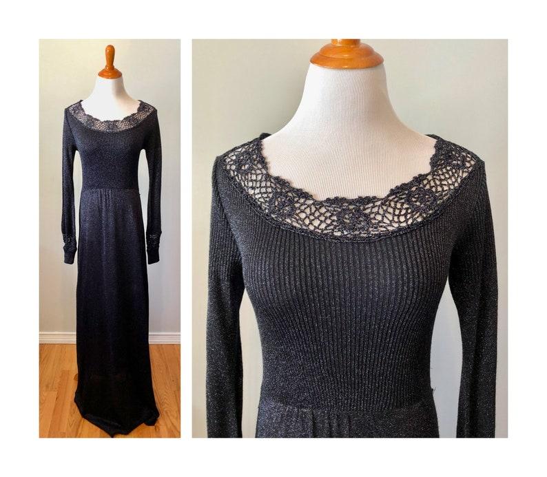 Vintage 70s Metallic Knit Dress M Wenjilli Knit Evening Gown image 0