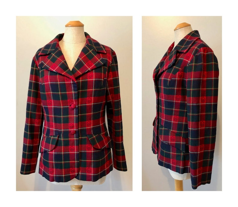 Vintage 70s Red Plaid Jacket M 1976 Canada Olympic Tartan image 0