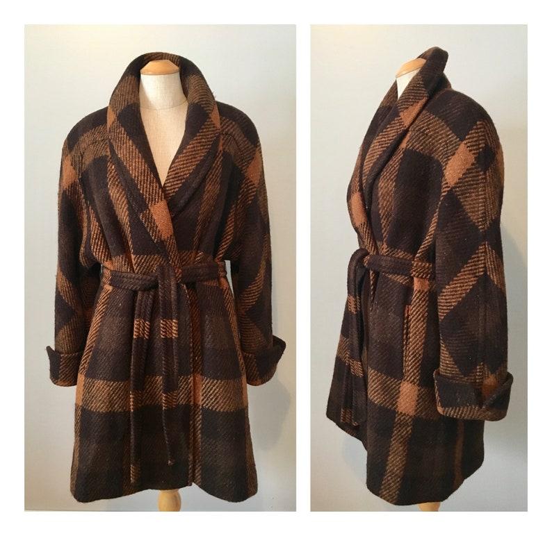 Vintage 70s Aquascutum Plaid Wool Wrap Coat XS S Winter Warm image 0