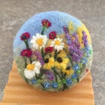 Felted Soap - Cranberry Green Tea Scented in a Wildflower Garden Theme with added Coconut Milk