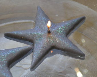 Silver Shimmering Star floating candles set of 10
