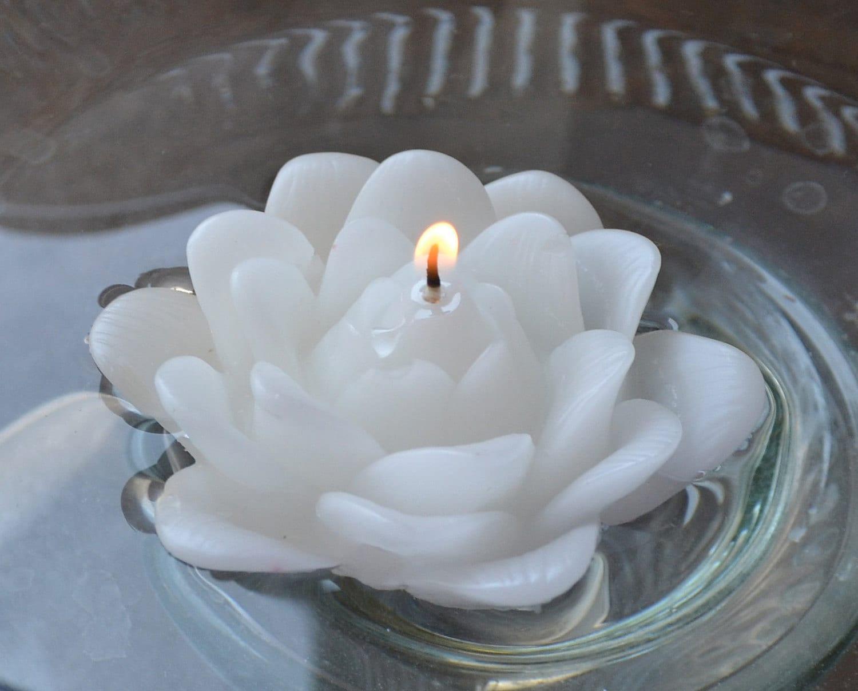 Set Of 12 White Lotus Floating Candles Etsy