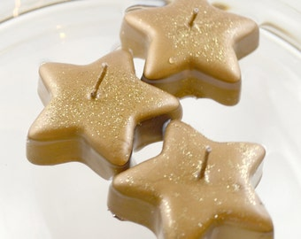 """Gold Star floating candles 2"""" Twinkle Twinkle Little Star Baby Shower, Under the Stars wedding centerpieces, starry night, party favors"""