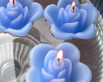 10 Periwinkle floating rose wedding candles for table centerpiece and reception decor.