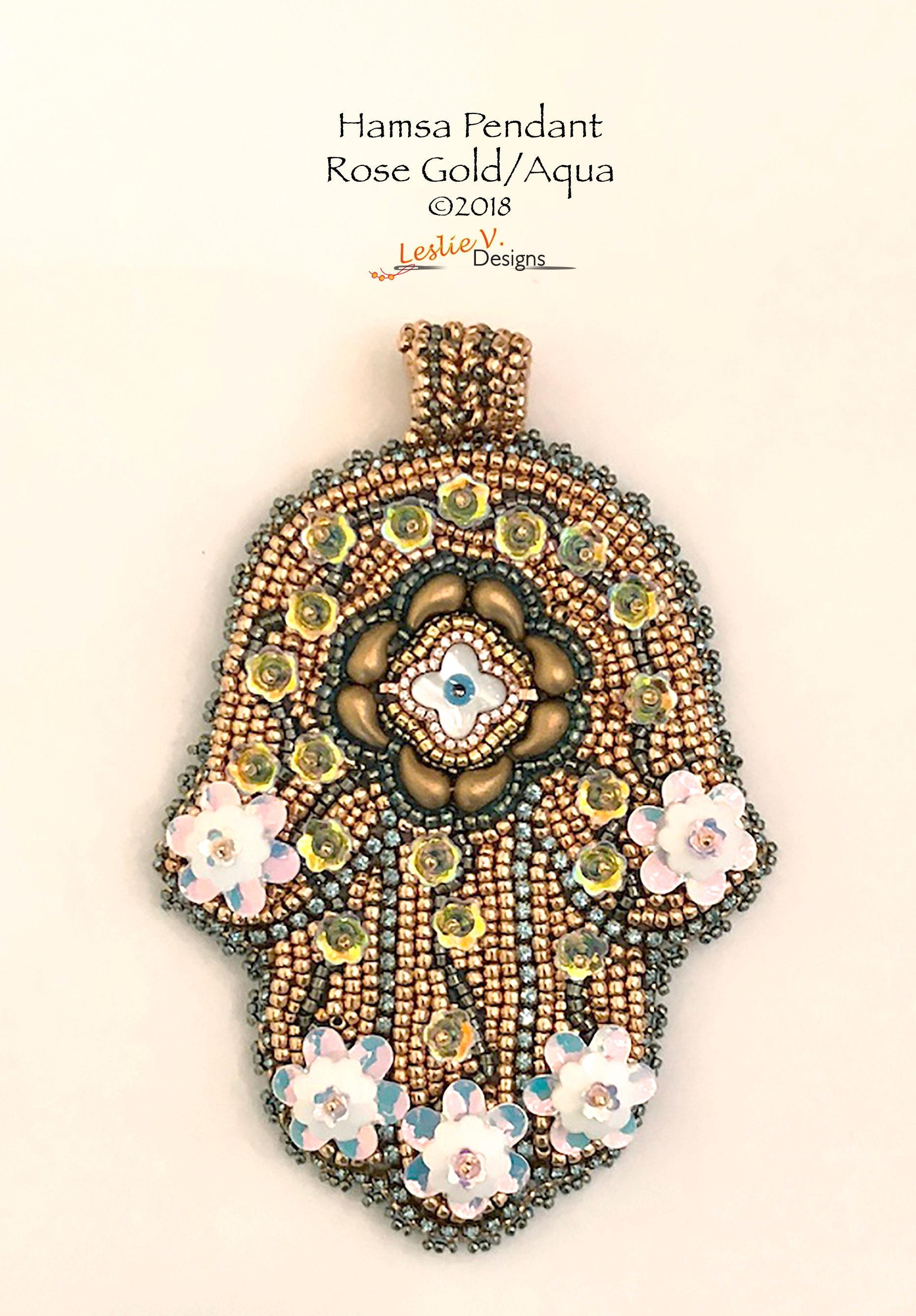 Kit de broderie Aqua perle pendentif - ROSEGOLD HAMSA HAMSA HAMSA (tutoriel inclus) d8de57