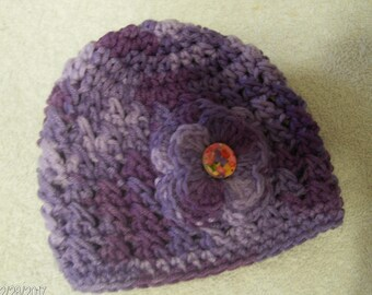 Crochet Baby Winter Hat sized to fit Newborns in Purple Varigated