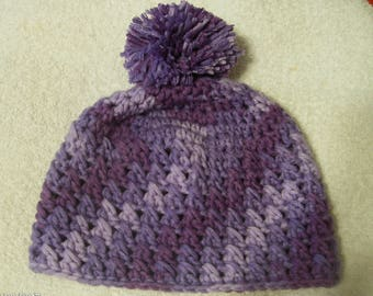 Crochet Baby Winter Hat sized to fit 6 to 9 months in purple swirl