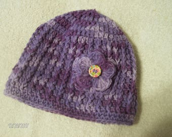 Crochet Baby Winter Hat sized to fit 6 to 12 months Purple Swirl