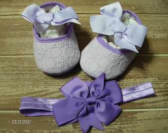 Purple Eyelet Soft Soled Shoes and Headband for Babies to 6 months plus