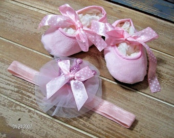 Pink Princess Soft Soled Shoes and Headband with princess Crown