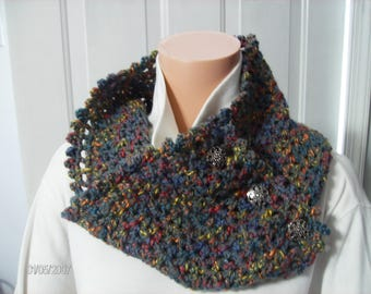 Crochet Cowl in Pretty Patchwork Grey with three silver tone buttons