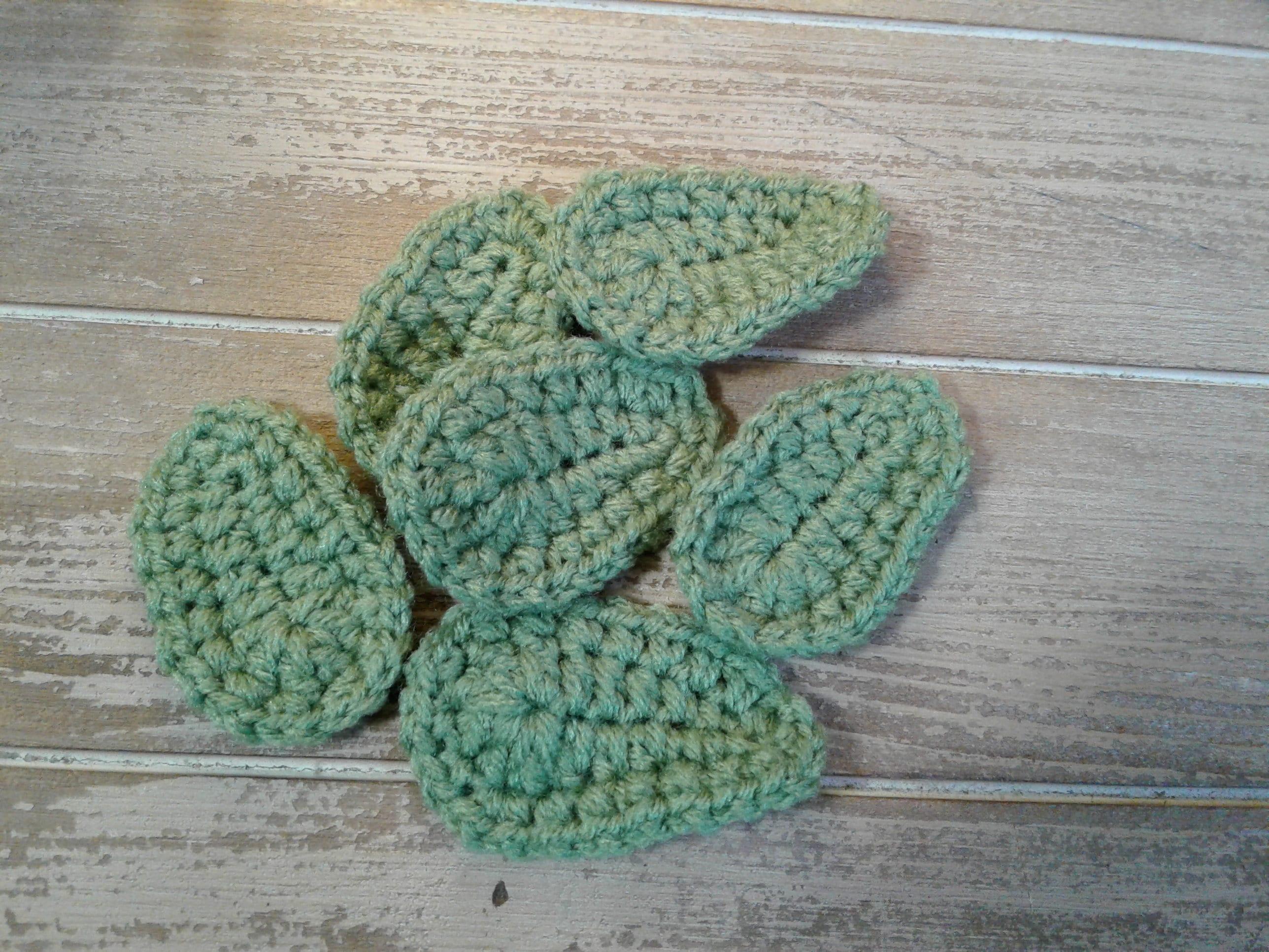 Crochet Large Leaf Appliques Set Of 6 Etsy