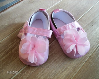 Pink Satin Flower soft soled shoes with Velcro straps for infants to 6 months