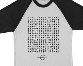 Zodiac Cipher Serial Killer True Crime Fan Unisex Raglan 3/4 Sleeve T-Shirt