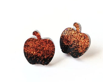 Glitter Resin Apple Earrings   Halloween Earrings   Fall Stud Earrings   Magnetic Stud Earrings